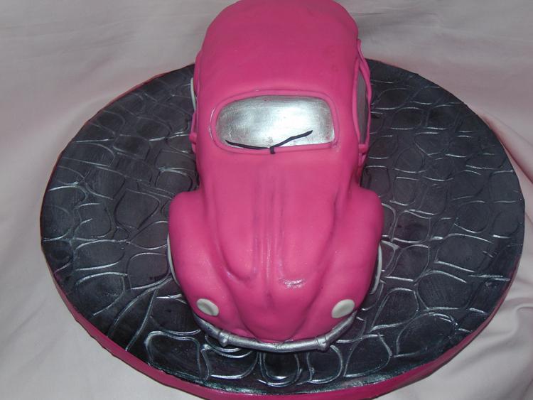 Pink vw beetle car cake wow is that really edible custom cakes pink vw beetle car cake malvernweather Gallery