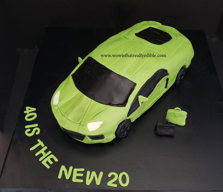 3d Sculpted Lamborghini Car Cake Wow Is That Really Edible Custom Cakes Cake Decorating Tutorials